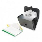 Папка-портфель пластик, А4, 12 отделения, замок, ручка, черный, арт.ef12133, ст.1
