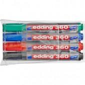 Маркер для письма на доске Edding 360, 2,2мм, круглый наконечник, набор 4 цвета, ст.1