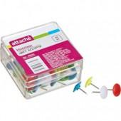 Кнопки цветные плоские 50шт/уп, пластиковые, Attache, ст.24