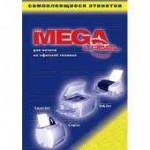 Самоклеящиеся этикетки Mega Label, А4, 80г/м, 100л, белые, высокоглянц. ст.1