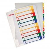 Разделитель А4+, пластик, 10 листов, 10цв, Esselte, с тит.листом, ст.10