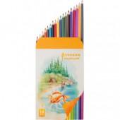 Карандаши цветные 18цв, Русский Карандаши цветные, шестигранные, картон.упак, заточенные, ст.8