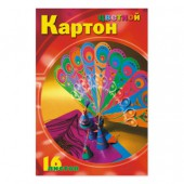 Картон цветной, набор А4, 16л, 8цв, Мультики, мелованный, ст.1