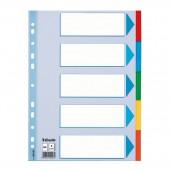 Разделитель А4, картон,  5 листов, 5цв, Esselte, ст.20