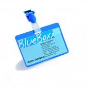Бейдж Durable 8106, горизонтальный, 90*60, синий, вращающийся клип-прищепка, ст.25