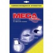 Самоклеящиеся этикетки Mega Label, А4, 25л, белые, глянцевые.  ст.1