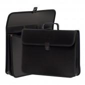 Папка-портфель пластик, А4, 2 отделения, черный нейлон, ст.1