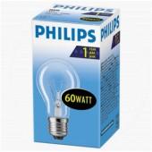 Лампа нак. 60Вт,  Е27, Philips, стандартная прозрачная, груша,  ст.1