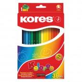 Карандаши цветные 36цв, Kores Kolores, трехгранные, с точилкой, картон.упак, ст.12