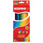 Карандаши цветные 12цв, Kores Kolores, шестигранные, с точилкой, картон.упак,