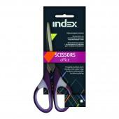 Ножницы 150 мм, Index, пластиковые ручки с фигурными резиновыми вставками