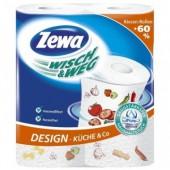 """Полотенца бумажные рулонные """"Zewa"""", 2-х слойные, белые с рисунком, тисн., 2рул./уп, ст.12"""