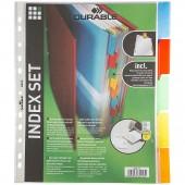 Разделитель А4, пластик,  5 листов, 5цв, Durable 6630, файлы-вкладыши с ярлыками-карм. ст.10