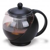 Чайник заварочный (1,2л стекло/ черный пластик ) ст.1