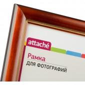 Рамка Attache 21*30см, деревянный фигурный багет, 25мм, орех/золото, ст. 1