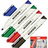 Маркер для письма на доске Kores, 3мм, круглый наконечник, набор 4 цвета, ст.1