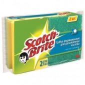 Губка абразивная 3М Scotch-Brite, для деликатной чистки с выемкой для пальцев, 2шт/уп, ст.1