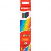 Карандаши цветные  6цв, Kores, шестигранные, стержень d=2,9мм, арт.96306, ст.1