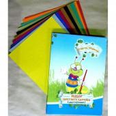 Картон цветной, набор А4, 10л, 10цв, Мультики, двусторонний, мелованный, 240г/м2, ст.35