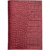 """Обложка для паспорта Askent """"Croco Nile"""", нат.кожа, красн, ст.1"""