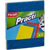Губка абразивная Paclan, набор разной жесткости, для сильных загрязнений 3шт/уп