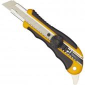 Нож канцелярский  18мм, с резиновыми вставками, роликовым фиксатором  ст.1