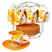 Сервиз чайный 6 чашек(200мл)+6блюдец бело-цветной в ассорт. sxt M625-13