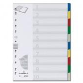 Разделитель А4+, пластик, 10 листов, 5цв, Durable,