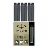 Картридж-мини Parker с чернилами Quink для перьевой ручки, цвет черный, 6шт/уп,