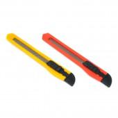 Нож канцелярский Standart push-lock 9 мм, красный, желтый