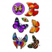 Наклейки объемные 3D Бабочки  7,5*19,5см, ассорти 3 дизайна, п п с европодвесом