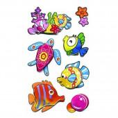 Наклейки объемные 3D Забавные Рыбки  7,5*19,5см, ассорти 3 дизайна, п п с европодвесом