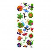 Наклейки объемные Цветочки И Букашки 8,5*19,5см, ассорти 3 дизайна, п п с европодвесом