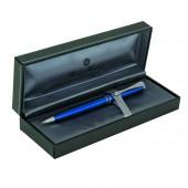 Ручка шариковая Sindaco, глянцевый синий лакированный корпус, хромированные детали