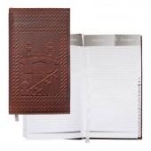 Записная книжка 115х205мм, 96л, кожа, большая, Фрегат, без кнопки, коричневая
