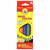 Карандаши цветные 18цв, Koh-I-Noor, Triocolor трехгранных, с европодвесом