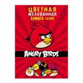 Бумага цветная А4, набор 10л, 10цв, Angry Birds, мелованная, в папке,