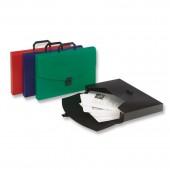 Папка-портфель пластик, А4, красная, 0,7мм, ребристая поверхность, ст.14
