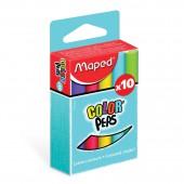 Мел школьный цветной 10цв,  Maped Color Peps, д/детей, кругл.