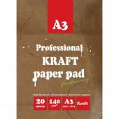 Папка для рисования А3, 20л, блок крафт 140г/м2, 02649