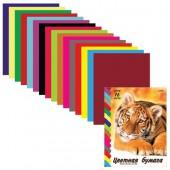 Бумага цветная А4, набор 16л, 16цв, двусторонняя, скрепка, 2дизайна,