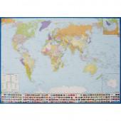 Карта мира, с флагами полит.Крым в РФ. картон лам. Кр191п