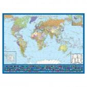 Карта мира, с флагами полит.Крым в РФ. картон лам. Кр445пк
