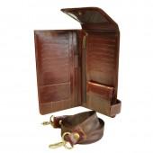 Портмоне дорожное кожаное темный коньяк, 02-236-0823