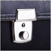 """Портфель """"London"""" ткань, черный, с карманом и ремнем"""