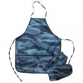 Фартук с нарукавниками, 3 кармана, камуфляж синий