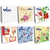Салфетки бумажные Veiro 3сл, 33*33см, 20шт/упак, белые с рисунком