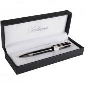 """Ручка шариковая """"Delucci"""" синяя, 1мм, корпус черный/серебро, поворотный механизм, футляр"""