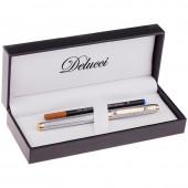 "Ручка роллер ""Delucci"" синяя, 0,6мм, корпус серебро, подарочный футляр"