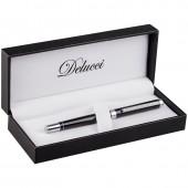"""Ручка роллер """"Delucci"""" черная, 0,6мм, корпус чёрный, подарочный футляр"""
